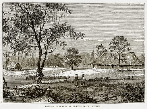 British Barracks at Orange Walk, Belize. Illustration from The Countries of the World by Robert Brown (Cassell, c 1890).