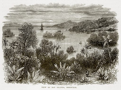 View of Bay Islands, Honduras. Illustration from The Countries of the World by Robert Brown (Cassell, c 1890).