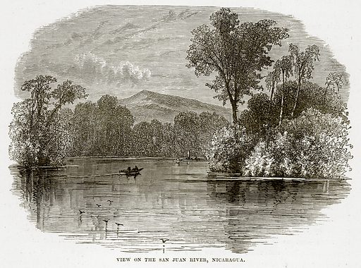View on the San Juan River, Nicaragua. Illustration from The Countries of the World by Robert Brown (Cassell, c 1890).
