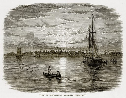 View of Blewfields, Mosquito Territory. Illustration from The Countries of the World by Robert Brown (Cassell, c 1890).