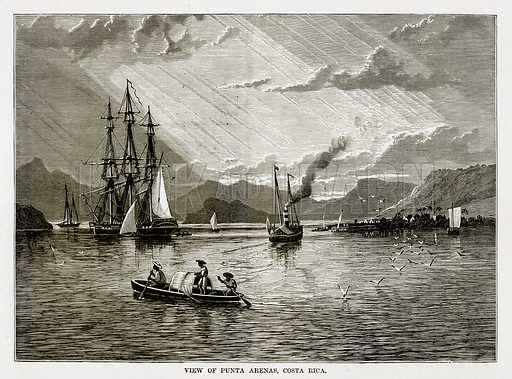View of Punta Arenas, Costa Rica. Illustration from The Countries of the World by Robert Brown (Cassell, c 1890).
