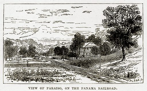View of Paraiso, on the Panama Railroad. Illustration from The Countries of the World by Robert Brown (Cassell, c 1890).
