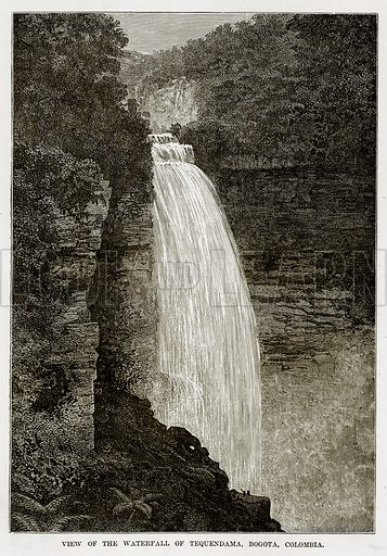 View of the Waterfall of Tequendama, Bogota, Colombia. Illustration from The Countries of the World by Robert Brown (Cassell, c 1890).