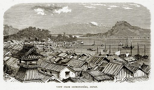 View from Shimonoseki, Japan. Illustration from The Countries of the World by Robert Brown (Cassell, c 1890).