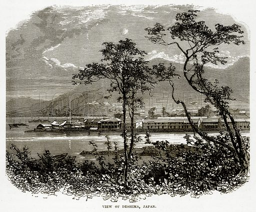 View of Deshima, Japan. Illustration from The Countries of the World by Robert Brown (Cassell, c 1890).