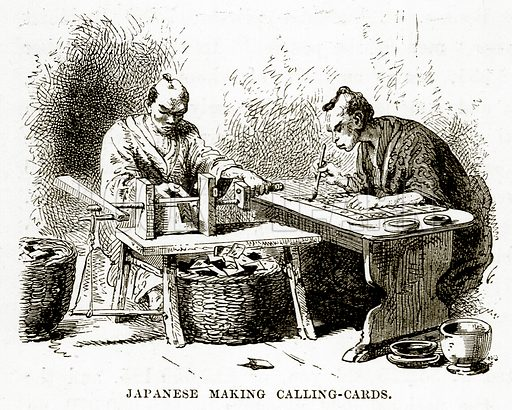 Japanese making Calling-Cards. Illustration from The Countries of the World by Robert Brown (Cassell, c 1890).