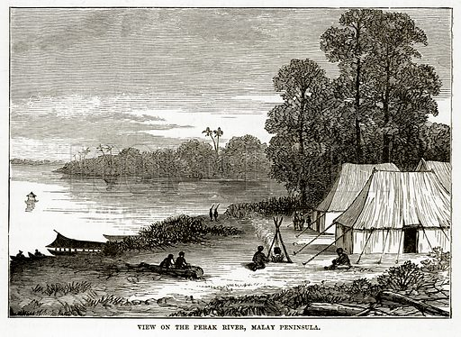 View on the Perak River, Malay Peninsula. Illustration from The Countries of the World by Robert Brown (Cassell, c 1890).