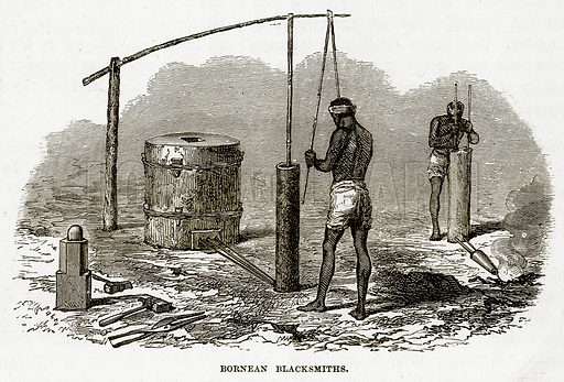 Bornean Blacksmiths. Illustration from The Countries of the World by Robert Brown (Cassell, c 1890).
