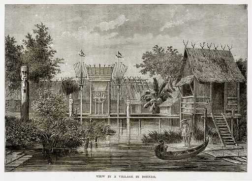 View in a Village in Borneo. Illustration from The Countries of the World by Robert Brown (Cassell, c 1890).