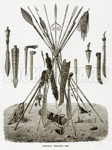 Bornean Weapons, Etc. Illustration from The Countries of the World by Robert Brown (Cassell, c 1890).
