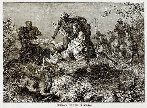 Antelope hunting in Borneo. Illustration from The Countries of the World by Robert Brown (Cassell, c 1890).