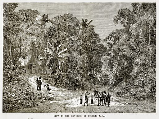 View in the Environs of Boghor, Java. Illustration from The Countries of the World by Robert Brown (Cassell, c 1890).