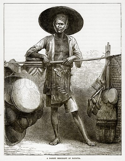 A Basket Merchant of Batavia. Illustration from The Countries of the World by Robert Brown (Cassell, c 1890).