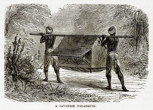 A Javanese Palanquin. Illustration from The Countries of the World by Robert Brown (Cassell, c 1890).