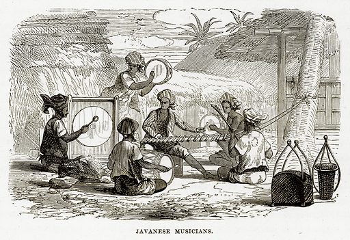 Javanese Musicians. Illustration from The Countries of the World by Robert Brown (Cassell, c 1890).