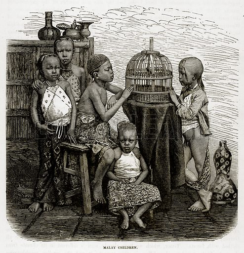Malay Children. Illustration from The Countries of the World by Robert Brown (Cassell, c 1890).