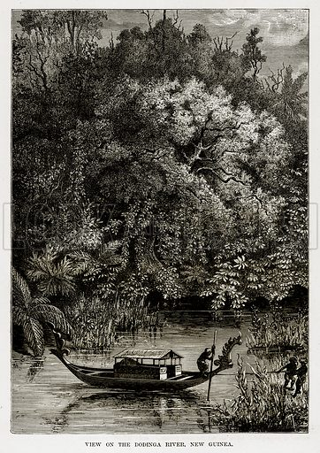 View on the Dodinga River, New Guinea. Illustration from The Countries of the World by Robert Brown (Cassell, c 1890).