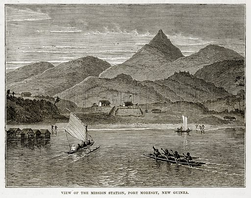 View of the Mission Station, Port Moresby, New Guinea. Illustration from The Countries of the World by Robert Brown (Cassell, c 1890).