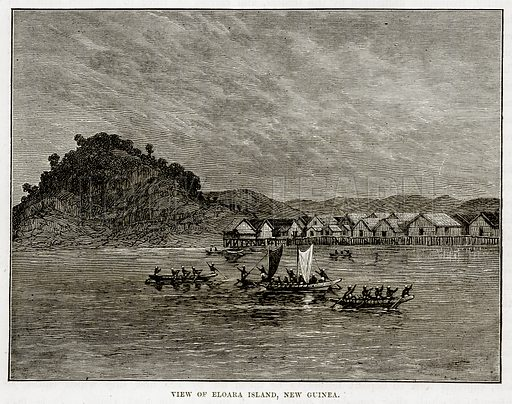 View of Eloara Island, New Guinea. Illustration from The Countries of the World by Robert Brown (Cassell, c 1890).