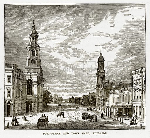 Post-Office and Town Hall, Adelaide. Illustration from The Countries of the World by Robert Brown (Cassell, c 1890).
