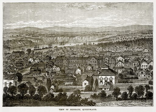 View of Brisbane, Queensland. Illustration from The Countries of the World by Robert Brown (Cassell, c 1890).