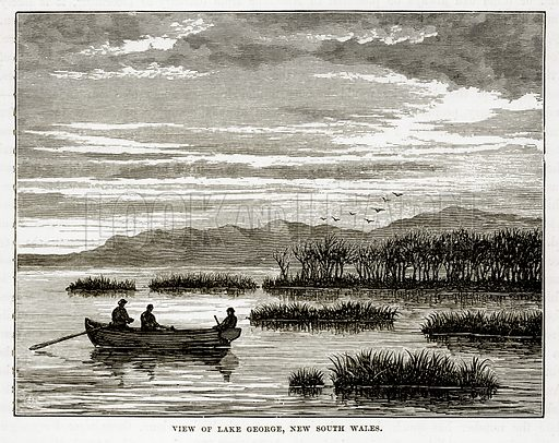 View of Lake George, New South Wales. Illustration from The Countries of the World by Robert Brown (Cassell, c 1890).