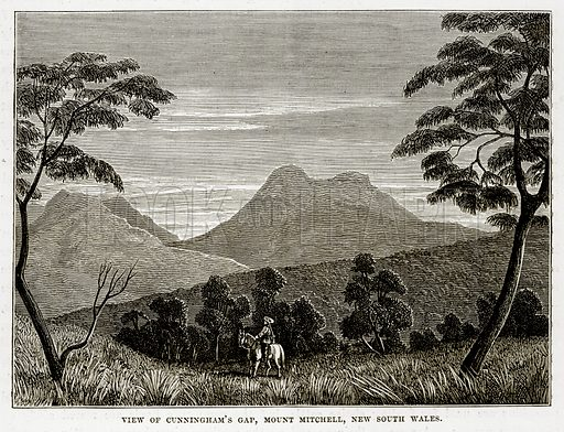 View of Cunningham's Gap, Mount Mitchell, New South Wales. Illustration from The Countries of the World by Robert Brown (Cassell, c 1890).