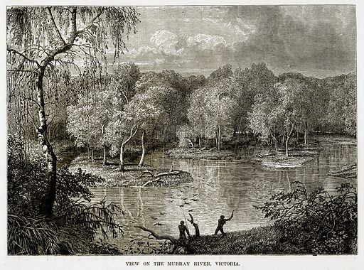 View on the Murray River, Victoria. Illustration from The Countries of the World by Robert Brown (Cassell, c 1890).