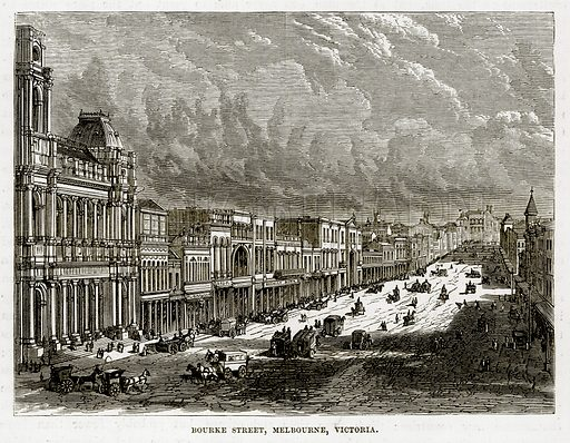 Bourke Street, Melbourne, Victoria. Illustration from The Countries of the World by Robert Brown (Cassell, c 1890).