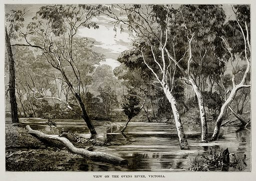 View on the Ovens River, Victoria. Illustration from The Countries of the World by Robert Brown (Cassell, c 1890).