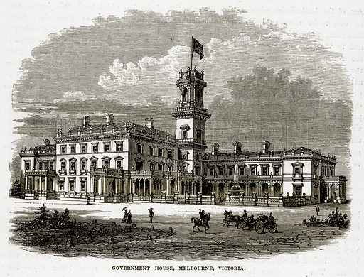 Government House, Melbourne, Victoria. Illustration from The Countries of the World by Robert Brown (Cassell, c 1890).