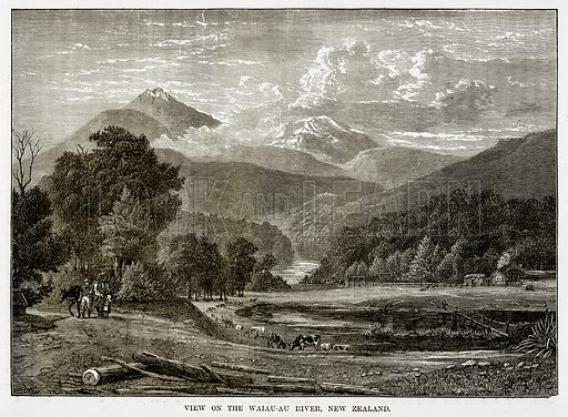 View on the Waiau-Au River, New Zealand. Illustration from The Countries of the World by Robert Brown (Cassell, c 1890).