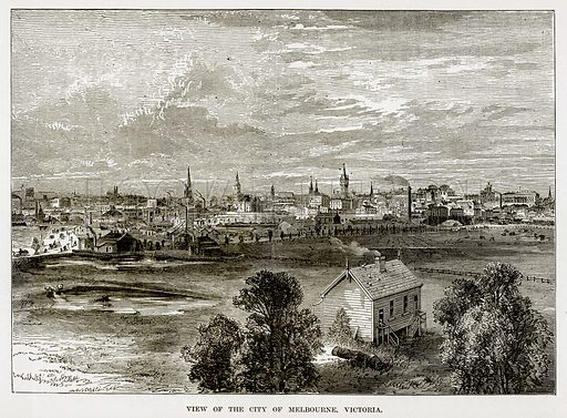 View of the City of Melbourne, Victoria. Illustration from The Countries of the World by Robert Brown (Cassell, c 1890).