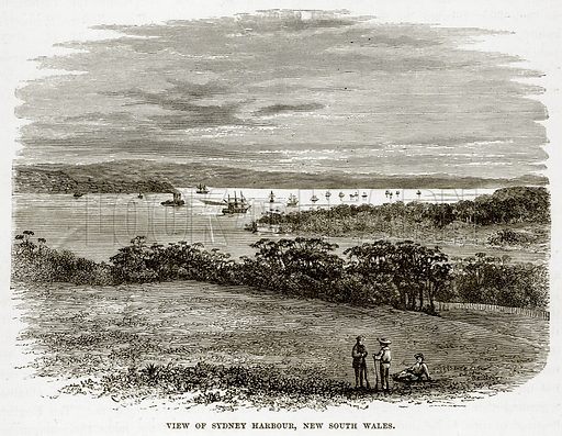 View of Sydney Harbour, New South Wales. Illustration from The Countries of the World by Robert Brown (Cassell, c 1890).