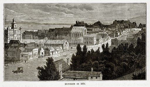 Dunedin in 1870. Illustration from The Countries of the World by Robert Brown (Cassell, c 1890).
