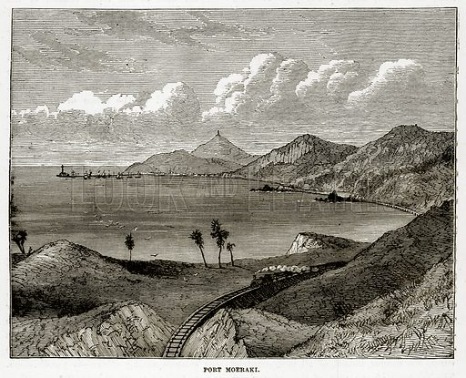 Port Moeraki. Illustration from The Countries of the World by Robert Brown (Cassell, c 1890).