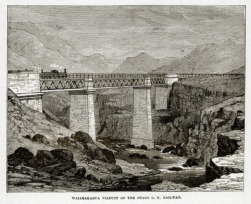 Waiamakarua Viaduct of the Otago GN Railway. Illustration from The Countries of the World by Robert Brown (Cassell, c 1890).