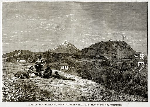 Part of New Plymouth, with Marsland Hill, and Mount Egmont, Taranaki. Illustration from The Countries of the World by Robert Brown (Cassell, c 1890).