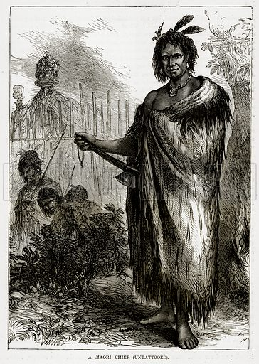A Maori Chief (Untattooed). Illustration from The Countries of the World by Robert Brown (Cassell, c 1890).