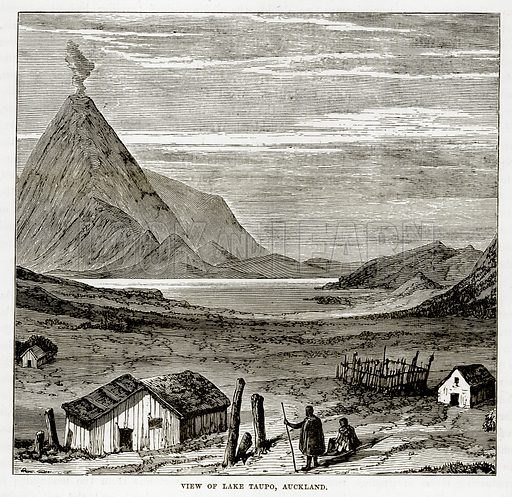 View of Lake Taupo, Auckland. Illustration from The Countries of the World by Robert Brown (Cassell, c 1890).