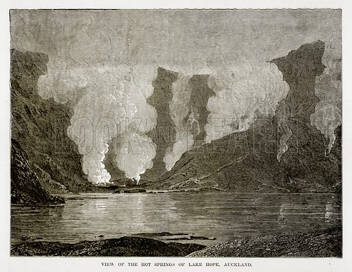 View of the Hot Springs of Lake Hope, Auckland. Illustration from The Countries of the World by Robert Brown (Cassell, c 1890).