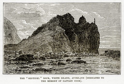 """The """"Sentinel"""" Rock, White Island, Auckland (Dedicated to the Memory of Captain Cook). Illustration from The Countries of the World by Robert Brown (Cassell, c 1890)."""