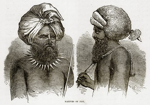 Natives of Fiji. Illustration from The Countries of the World by Robert Brown (Cassell, c 1890).