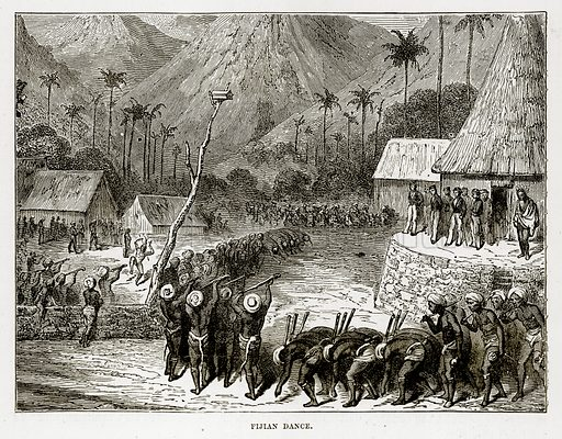 Fijian Dance. Illustration from The Countries of the World by Robert Brown (Cassell, c 1890).