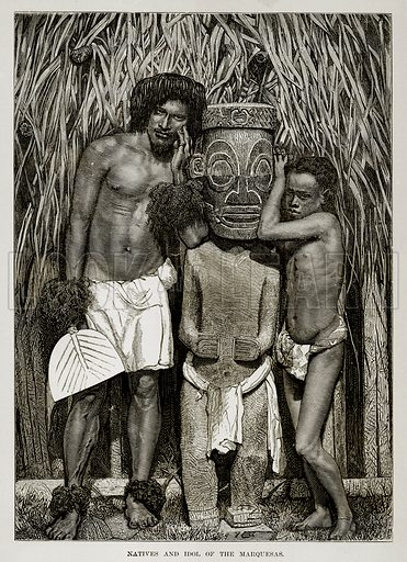 Natives and Idol of the Marquesas. Illustration from The Countries of the World by Robert Brown (Cassell, c 1890).