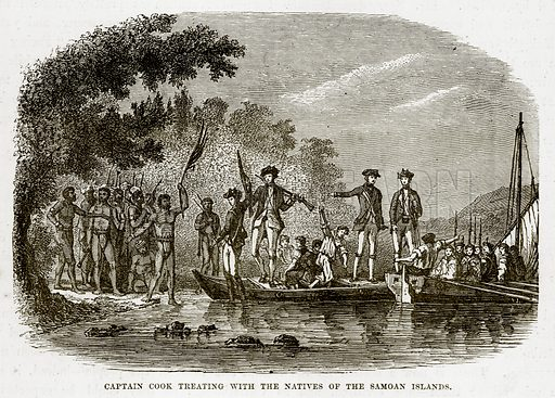 Captain Cook treating with the Natives of the Samoan Islands. Illustration from The Countries of the World by Robert Brown (Cassell, c 1890).