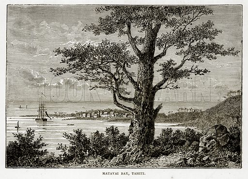 Matavai Bay, Tahiti. Illustration from The Countries of the World by Robert Brown (Cassell, c 1890).