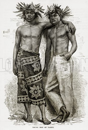Young Men of Tahiti. Illustration from The Countries of the World by Robert Brown (Cassell, c 1890).