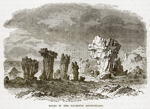 Rock in the Paumotus Archipelago. Illustration from The Countries of the World by Robert Brown (Cassell, c 1890).