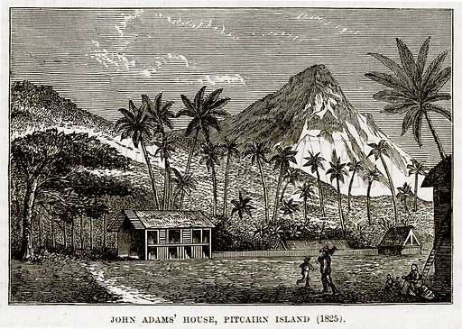 John Adams' House, Pitcairn Island (1825). Illustration from The Countries of the World by Robert Brown (Cassell, c 1890).